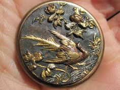 Antique Japanese Meiji Shakudo Pheasant Button Netsuke Kagamibuta Tobacco Purse | eBay