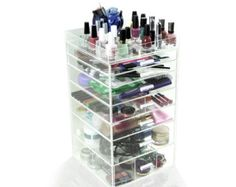 Acrylic Makeup Organizer, 7 Drawers, Clear, Cosmetic Cube Case, Box w/ Dividers & Top Tray