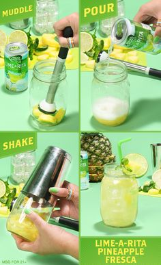 Your next fiesta needs this Lime-A-Rita Pineapple Agua Fresca cocktail recipe! It's the perfect adult drink to get you in a summer mood. 1) Muddle 3-4 chunks of pineapple w/ a dash of agave nectar in a mason jar. 2) Pour Bud Light Lime-A-Rita, seal, and shake. 3) Pour it over ice. 4) Garnish with a pineapple slice and lime wheel and enjoy!