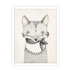 Illustrated fox art print by Kelli Murray for Rylee & Cru. Printed on matte white paper - acid free, 110 lb cover, 298 GSM Sealed in a cello sleeve with pro