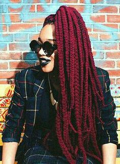 wine red hairstyle for black women 3 Afro Hairstyles, Black Women Hairstyles, Protective Hairstyles, Red Box Braids, Hair Extension Shop, Curly Hair Styles, Natural Hair Styles, Yarn Braids, Beautiful Braids