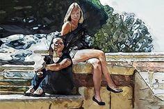 Mujeres vestidas.Pinturas digitales d Luis Cebrián