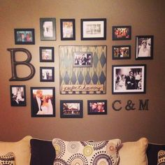 Our photo wall! Lots of pinsperation went into this :) #homedecor #photowall #livingroom