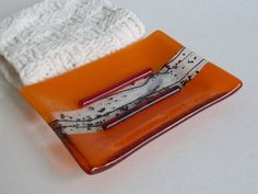 Large Fused Glass Soap Dish in Orange. If you haven't discovered BPR Designs, you MUST!