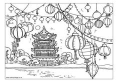 Chinese Moon Festival: Lantern Scene Coloring Page