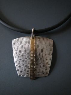Large Sterling Square with Brass Dangle Pendant - B Nelson Designs Store