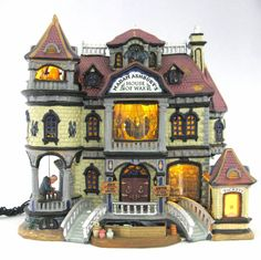 Retired Lemax Spooky House of Wax Factory Lighted & Animated Building Halloween #Lemax