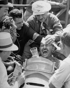 Wibur Shaw is ecstatic in winning the 1939 Indy 500.