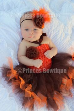 A Fall Tutu Dress for your Orange Brown Little Newborn Princess