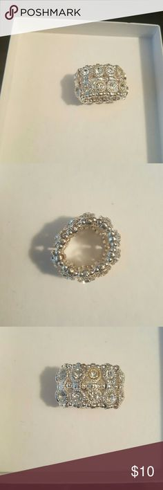 INC Silver bling stretch  Ring Silver ring, 3rd picture show the one flaw with this ring INC International Concepts Jewelry Rings