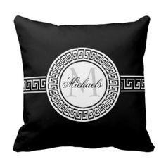 Elegant Black and White Greek Key Monogram Pillow http://www.zazzle.com/elegant_black_and_white_greek_key_monogram_pillow-189778191851625910?rf=238968982769931168