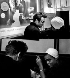 James Dean and Eartha Kitt at a bar in New York, 1955