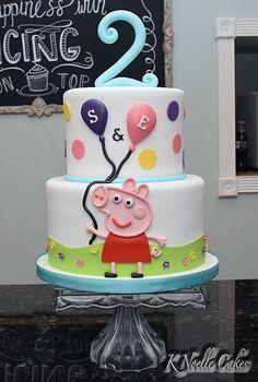 Peppa Pig theme cake by K Noelle Cakes