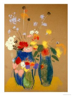 Three Vases of Flowers Giclee Print by Odilon Redon who was the leader of Les Nabis during the 1980's.