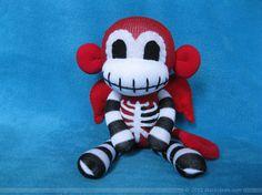 Winged+Skeleton+Sock+Monkey+Plush++Red+by+REBELalaMODE+on+Etsy,+$45.00