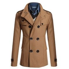 Men's Fashion British Style Coat Solid Color Woolen Double Breasted Casual Long Jacket