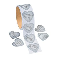 Silver Heart Thank You Stickers $2.55 for one roll of 100 OrientalTrading.com