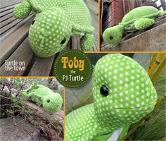 Sewing Stuffed Animals Toby the Turtle with a Hidden PJ Pocket Sewing Toys, Baby Sewing, Sewing Crafts, Sewing Projects, Sewing Patterns Free, Free Sewing, Doll Patterns, Sewing Designs, Sewing Stuffed Animals