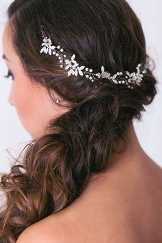 Bridal leaf head piece with swarovski peals and crystals, Bridal hair vine, Bridal hair piece, Bridal wreath