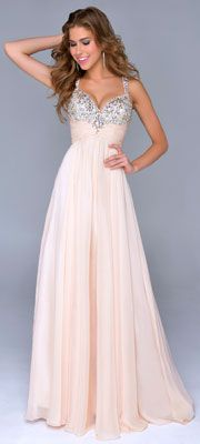 Nina Canacci 2014 Prom Dresses - Nude Chiffon & Beaded Bodice Prom Gown - DRESSES Your dress can be altered on top and look just like this Great Gatsby Prom Dresses, Prom Dresses 2015, Cute Prom Dresses, Prom Dresses For Sale, Pretty Dresses, Bridesmaid Dresses, Wedding Dresses, Prom 2014, Prom Gowns