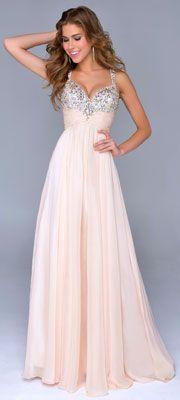 Nina Canacci 2014 Prom Dresses - Nude Chiffon & Beaded Bodice Prom Gown