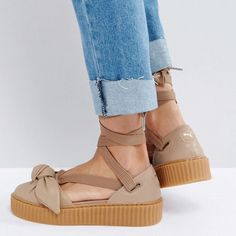 wholesale dealer 23ea3 be766 Puma Shoes   Puma Fenty By Rihanna Creeper Shoe Cute Bow Women   Color  Tan    Size  Various