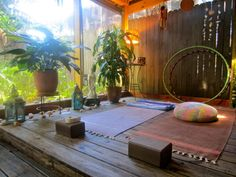 yoga decorations, buddha statue, hula hoops, lanterns