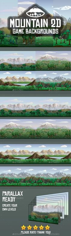Buy Mountain Backgrounds by craftpix_net on GraphicRiver. Mountain Backgrounds is a collection of 4 seamless themed backgrounds. 2d Game Background, Free Game Assets, Ai Illustrator, Environment Design, Game Design, Mountain, Photoshop, Graphic Design, Adventure