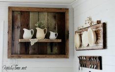 DIY Salvaged Wood Display Shelf to display Farmhouse Collections |knickoftime.net #knickoftime #farmhousedecor #shelves #upcycling #repurposed