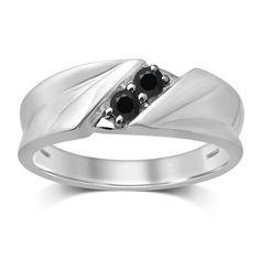 Unending Love 10k White Gold 1/4-carat TW Treated Black Diamond 2-stone Gent Band (Size 9.5, White), Men's