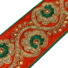 Orange Trim Sequin Sari Border Lace Sewing Designer Embroidered Tape India 1 Yd