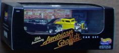 Hot Wheels AMERICAN GRAFFITI 25th Anniversary Diecast Car Set by Mattel. $74.95. 25th Anniversary - American Graffiti: Mel's Drive-In. Limited Edition for Adult Collector - Includes Limited Edition ID# on box end. Hot Wheels Collectibles. Multi-Piece Vehicle from 1st Run Tool. 2 Car Set with display case. Hot Wheels Collectibles commemorative 2-car set for the 25th anniversary of the American Graffiti movie. Limited edition for the adult collector with ID# on end of black...