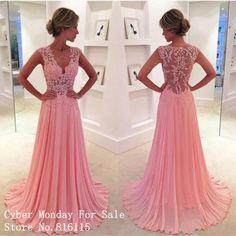 Charming Tiefem V-ausschnitt Spitze Appliques Flügelärmeln Lange Abendkleider Sexy Durchsichtig Zurück Rosa Chiffon Abendkleid Formale Kleider //Price: $US $132.00 & FREE Shipping // #abendkleider