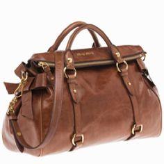 Miu Miu - Top Handle Leather Tote Bag in Rosewood