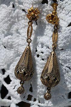 VINTAGE GOLD WASHED STERLING SILVER CANNETILLE FILIGREE SCREW BACK EARRINGS