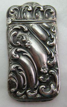 Sterling Silver Match Safe Vesta Swirls- c 1900