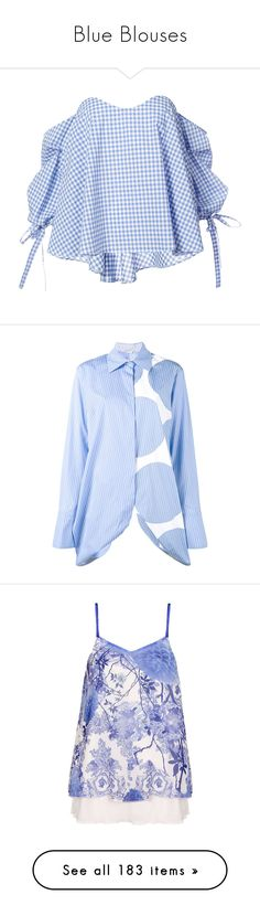 """Blue Blouses"" by kikikoji ❤ liked on Polyvore featuring tops, blouses, blue, cotton blouse, checkered top, off shoulder blouse, checked blouse, blue off shoulder top, long sleeve tops and long sleeve stripe shirt"