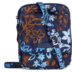 Vera Bradley Mini Hipster Crossbody in Java Floral ($48) ❤ liked on Polyvore featuring bags, handbags, shoulder bags, java floral, mini handbags, mini crossbody handbags, blue handbags, cross-body handbag and blue crossbody