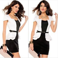 Fashion Sexy Gifts for Love Mini 2014 Summer Women Stretchy Black White Pink Work Peplum One Piece Dress LS386