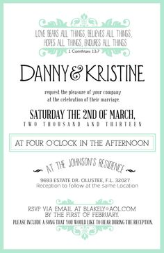 Custom Color Wedding Invitation- Vintage.  via Etsy. #teal #mint #vintage