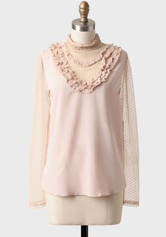 Portrait Of A Lady Lace Detail Blouse from Ruche - Beautifully sheer details hint at skin with ruffly ribbon bits in a blush pink hue. A three season; winter, spring, fall, kinda piece.