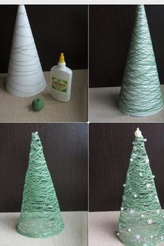 Christmas Tree using Yarn & Glue.these are the BEST Homemade Christmas Decorations & Craft Ideas!DIY Christmas Tree using Yarn & Glue.these are the BEST Homemade Christmas Decorations & Craft Ideas! Cute Christmas Decorations, Easy Christmas Crafts, Diy Christmas Tree, Christmas Holidays, Christmas Ornaments, Holiday Fun, Christmas Decorations Apartment Small Spaces, Xmas Trees, Modern Christmas