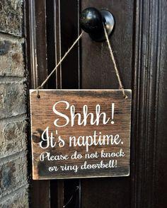 Shhh! Its Naptime Please do not knock or ring doorbell! Baby Sleeping Door Sign   Rustic Sign
