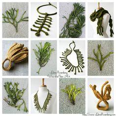Summer 2012 - Inspiration & Design Collage - Elena Rosenberg Wearable Fiber Art by Elena R. Fiber Art Jewelry, Textile Jewelry, Fabric Jewelry, Jewelry Art, Felted Jewelry, Jewellery, Freeform Crochet, Crochet Art, Crochet Flowers