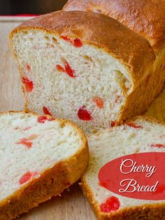Cherry Bread - a Christmas tradition at our house. This sweet bread recipe is terrific for brunch, as the base for a luscious bread pudding, or to enjoy as the best morning toast ever. Makes a wonderful addition to Holiday breakfasts every year too. Cherry Bread, Fruit Bread, Rock Recipes, Cherry Recipes, Jelly Recipes, Health Recipes, Scones, Christmas Morning Breakfast, Christmas Brunch
