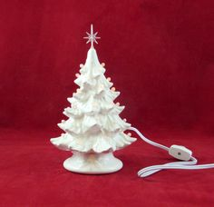 Small White Glazed Ceramic Christmas Tree with by aarceramics
