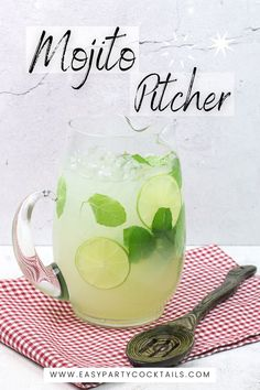 Making big batch mojitos is simple with this Pitcher Mojito Recpe! Mojito Pitcher, Simple Syrup, Lime Juice, Rum, Easy Meals, Cocktails, Mint, Tableware, Party