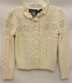 Polo Ralph Lauren Girl's 4 Ivory White Silver Snowflake Ruffle Cable Sweater