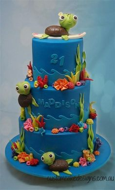 This cake was made for Maddison who is turning 21 this weekend and having a Under the Sea / Fantasia themed party. Her sister also wanted to reflect her love of the ocean, sea turtles, frangipanis and surfing into the cake.