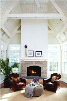 Like this ceiling shape for great room...not as rustic though with all the painted timber